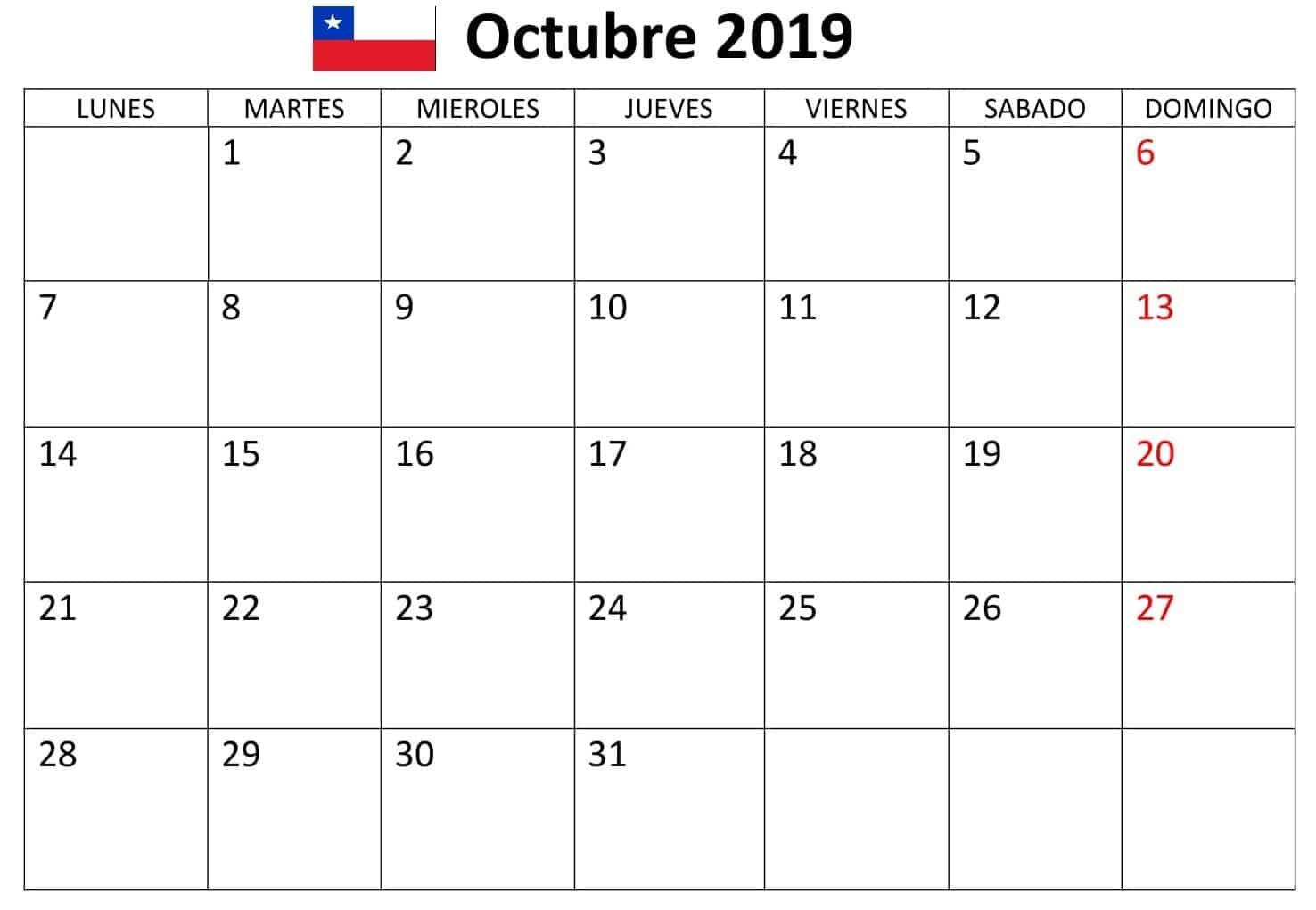 Calendario Octubre 2019 Chile Excel