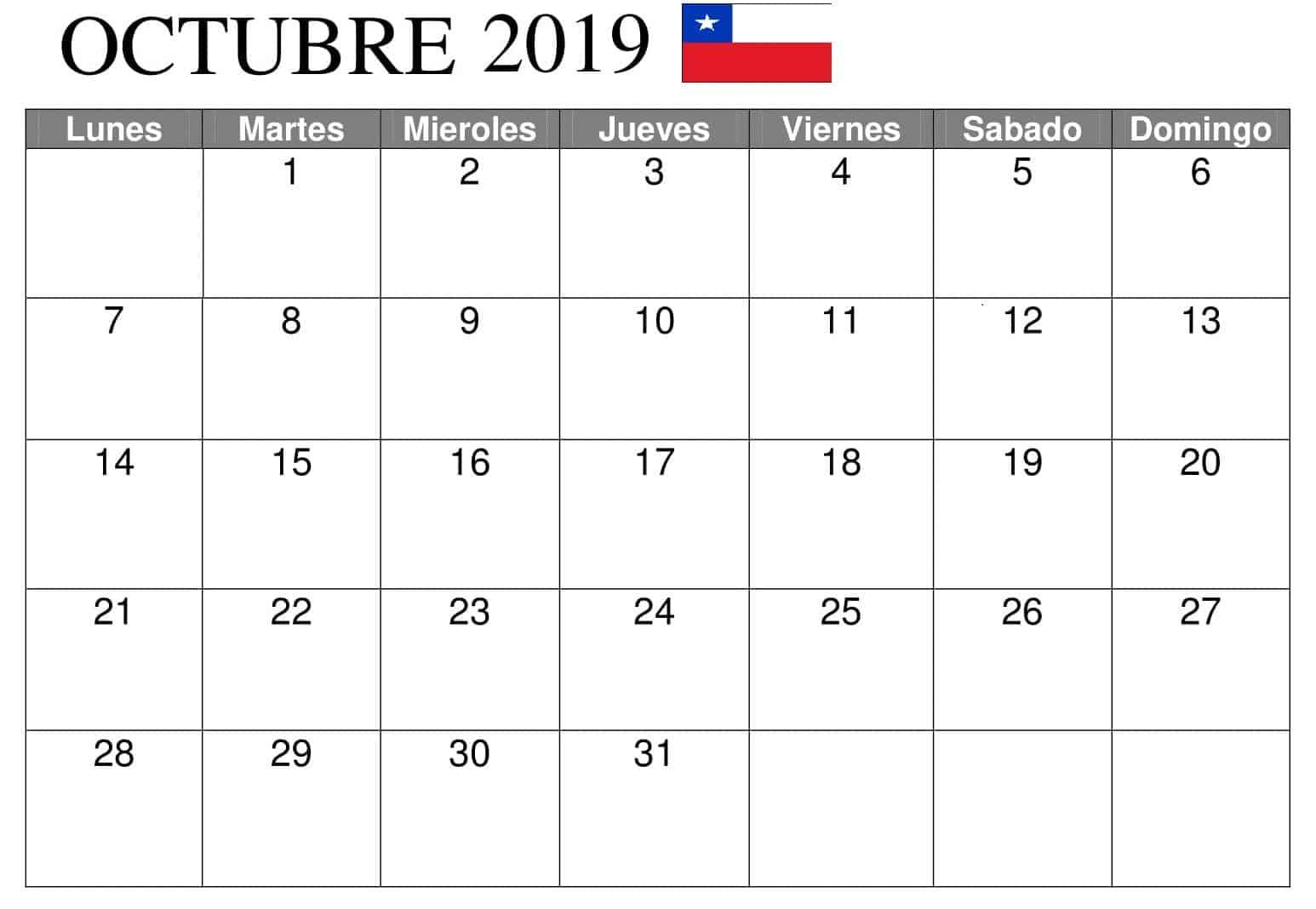 Calendario Octubre 2019 Chile PDF