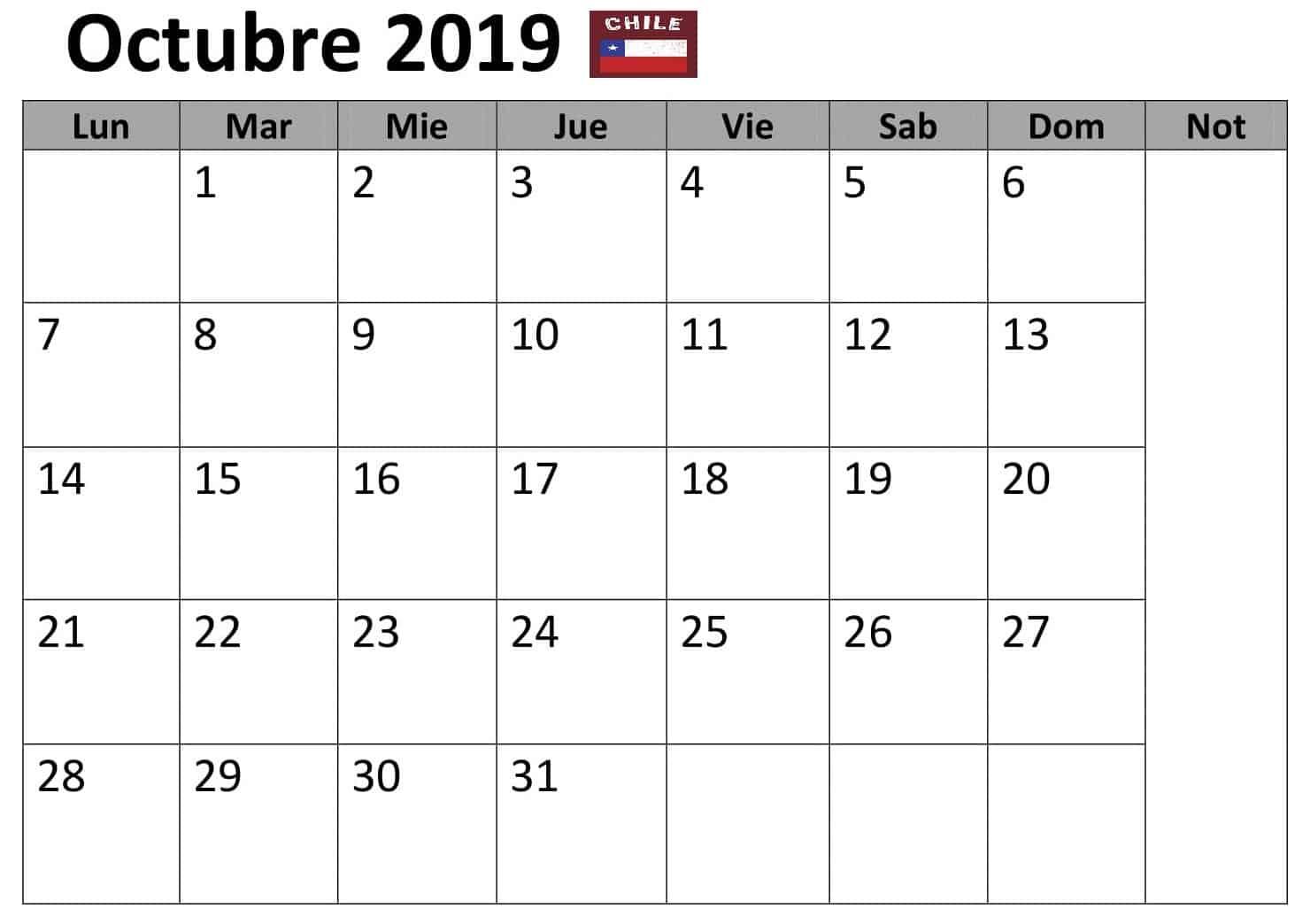 Calendario Octubre 2019 Chile Word