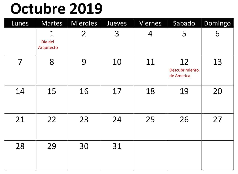 Calendario Octubre 2019 Con Festivos