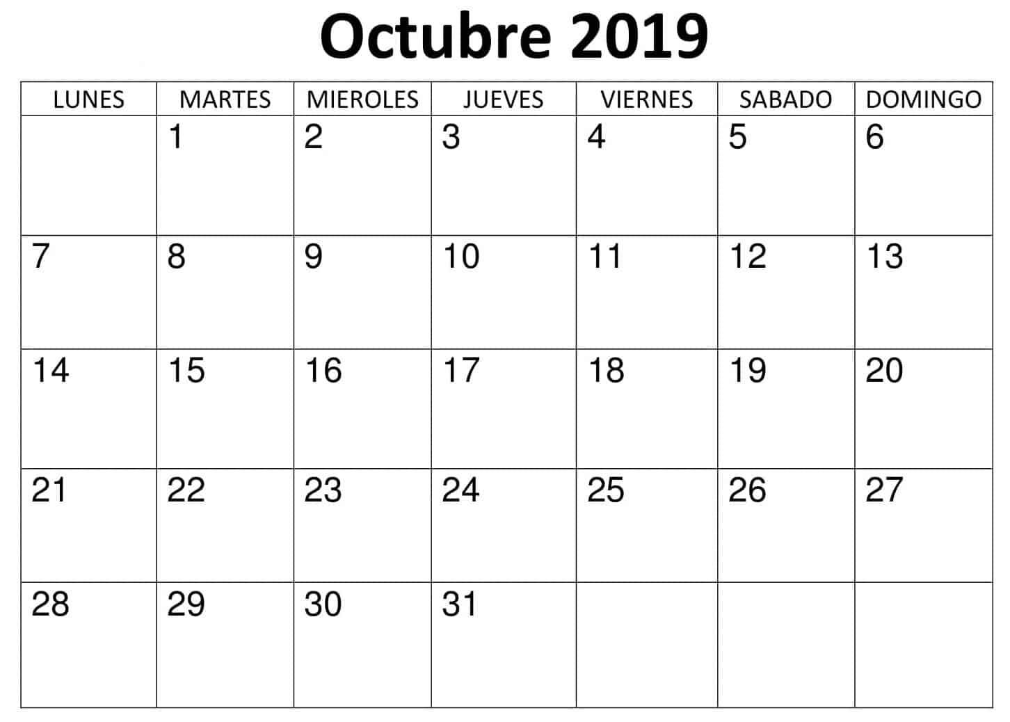 Calendario Diario Para Imprimir 2019.Gratis Calendario Octubre 2019 Para Imprimir Nosovia Com