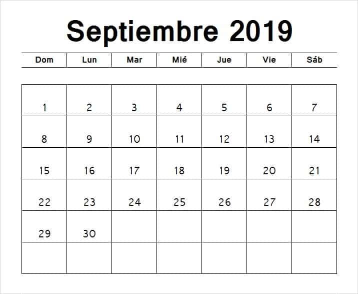Calendario Septiembre 2019 Chile