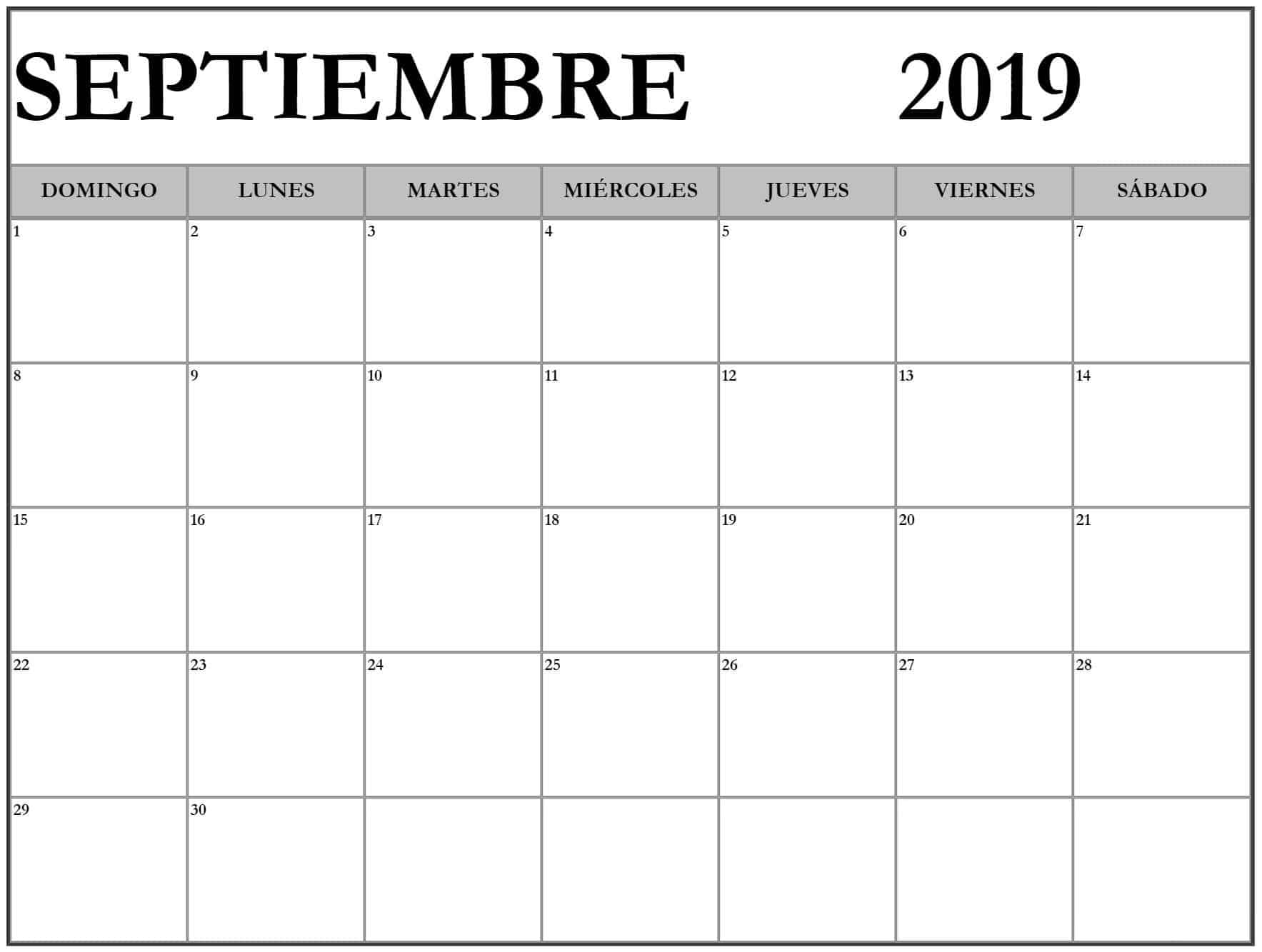Calendario Septiembre 2019 Mes Para Imprimir