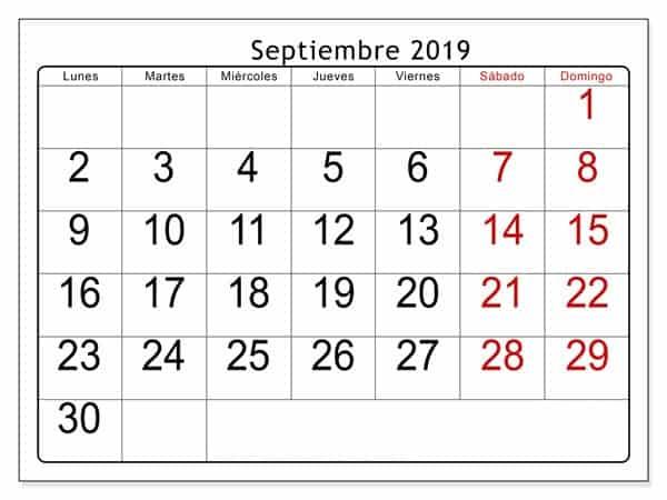 Calendario Septiembre 2019 Estilos Para Imprimir
