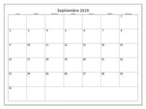 Calendario Septiembre 2019 Mensual Para Imprimir