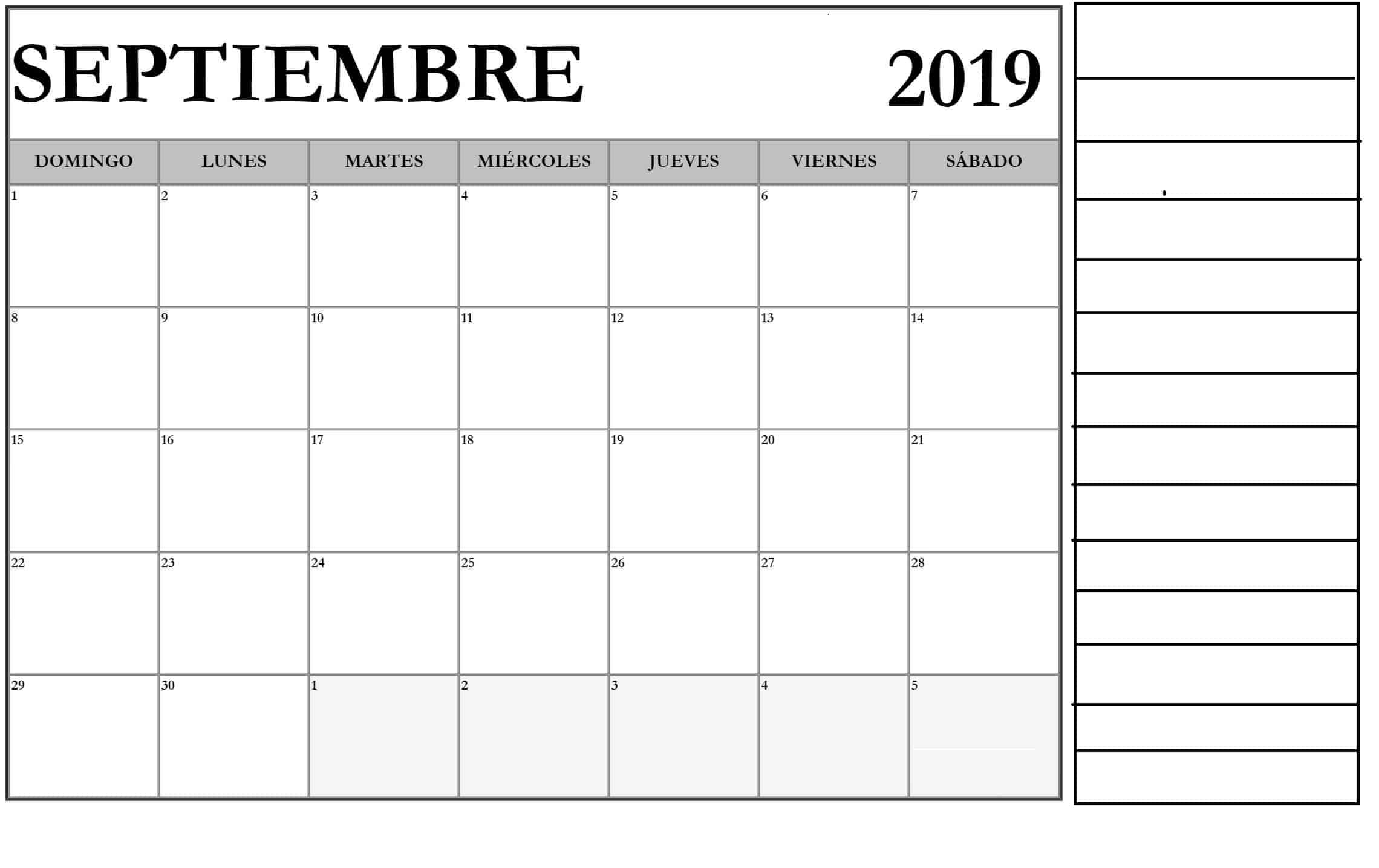 Septiembre 2019 Calendario Gratis Para Imprimir