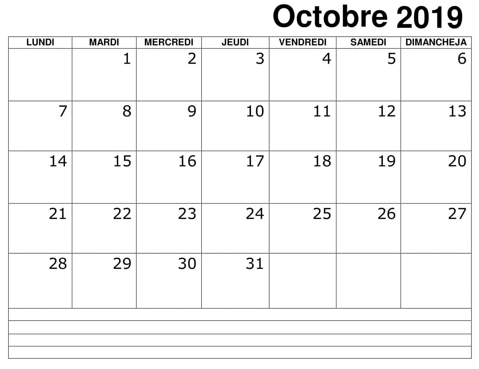 Calendrier 2019 Octobre Excel