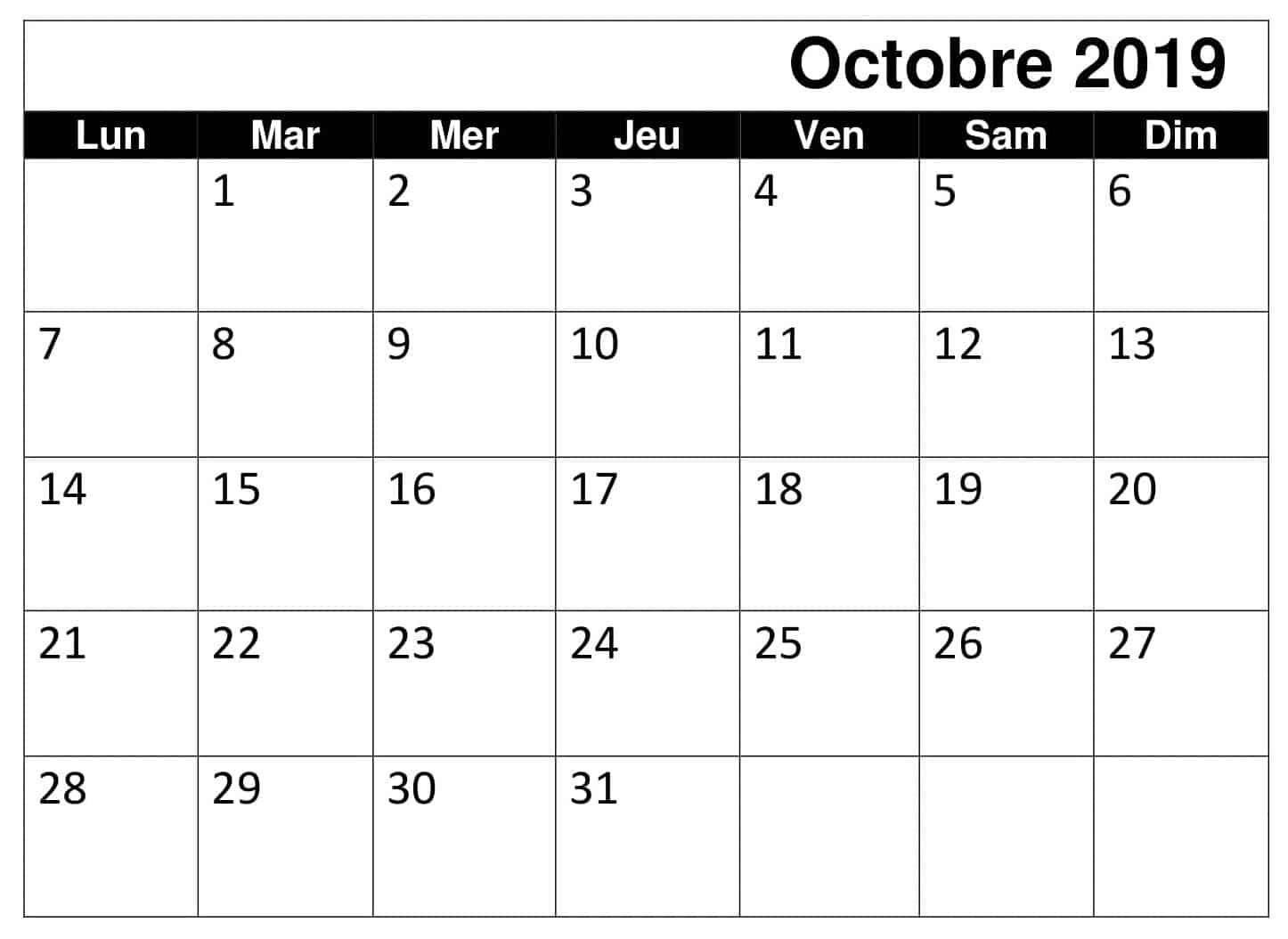 Calendrier 2019 Octobre PDF
