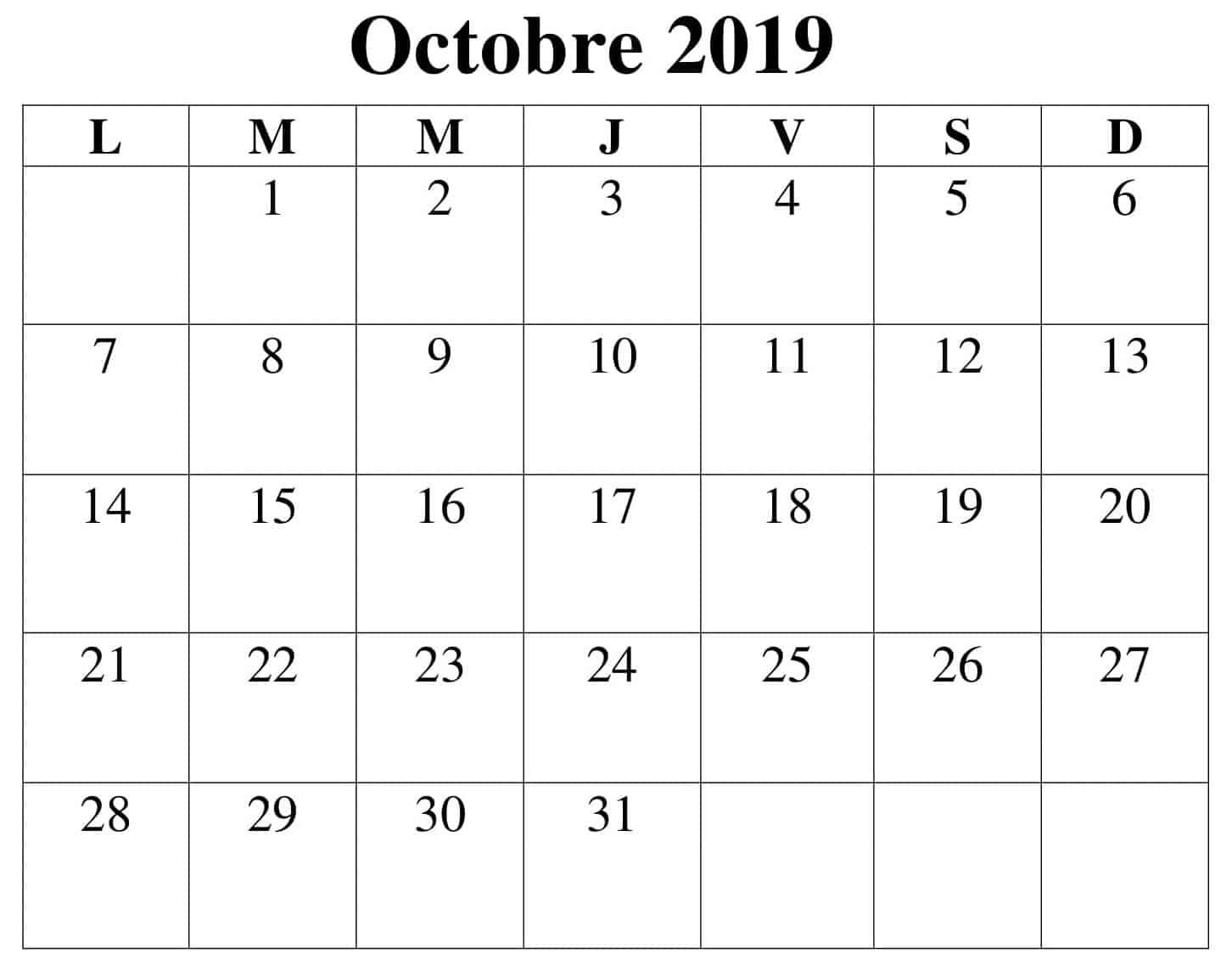 Calendrier Document Octobre 2019 PDF