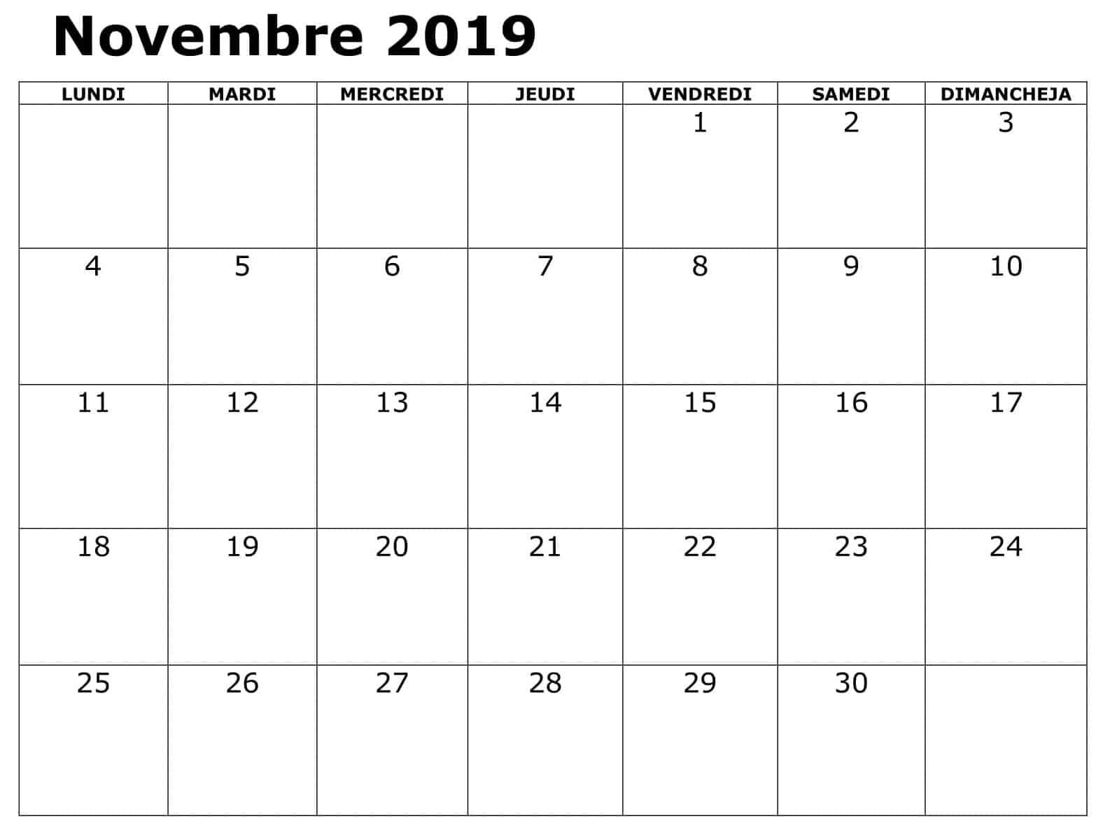 Calendrier Novembre 2019 PDF