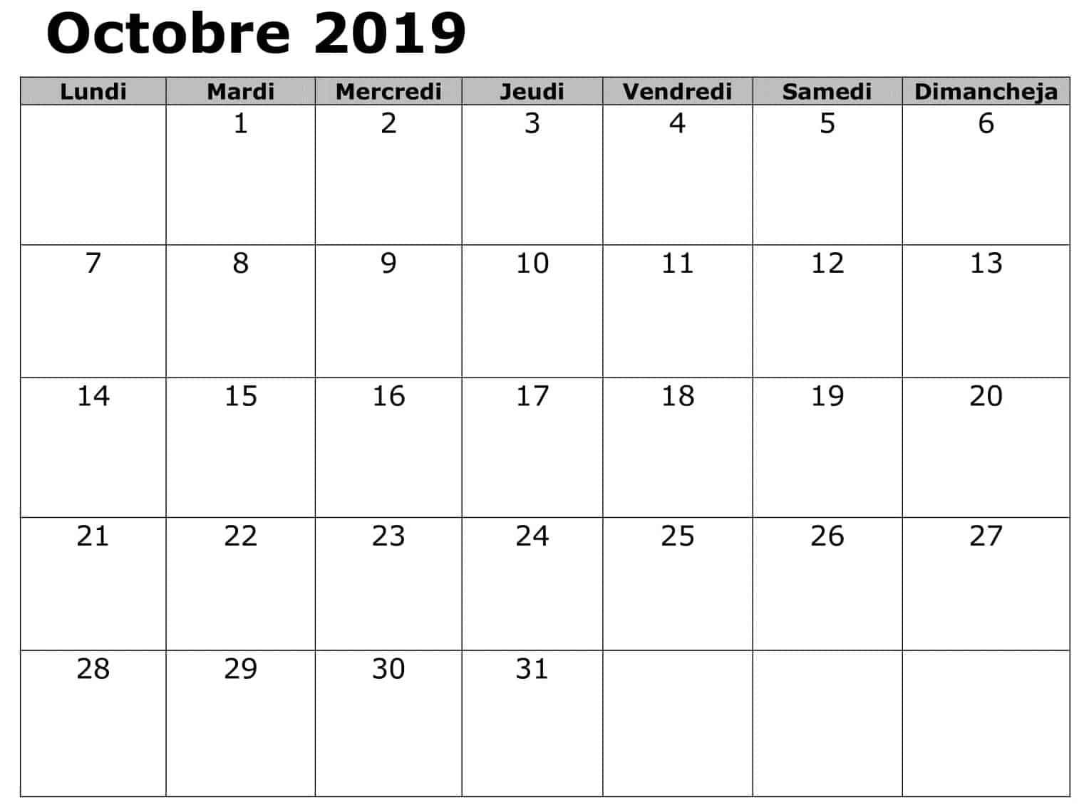 Calendrier Editable Octobre 2019 PDF