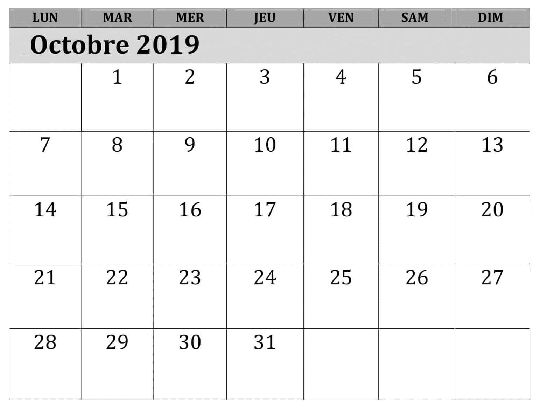 Calendrier Mensuel 2019 Octobre