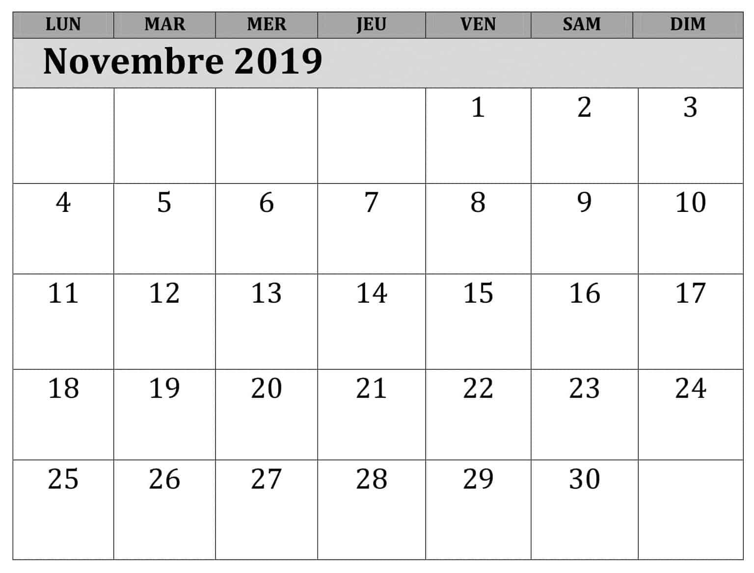 Calendrier Novembre 2019 À Imprimer