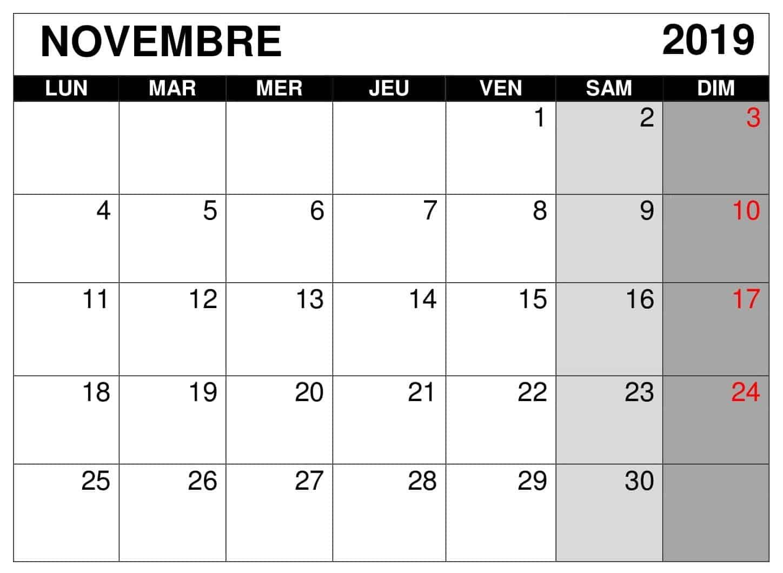 Calendrier A Imprimer Novembre 2019.Calendrier Novembre 2019 A Imprimer Mensuel Nosovia Com