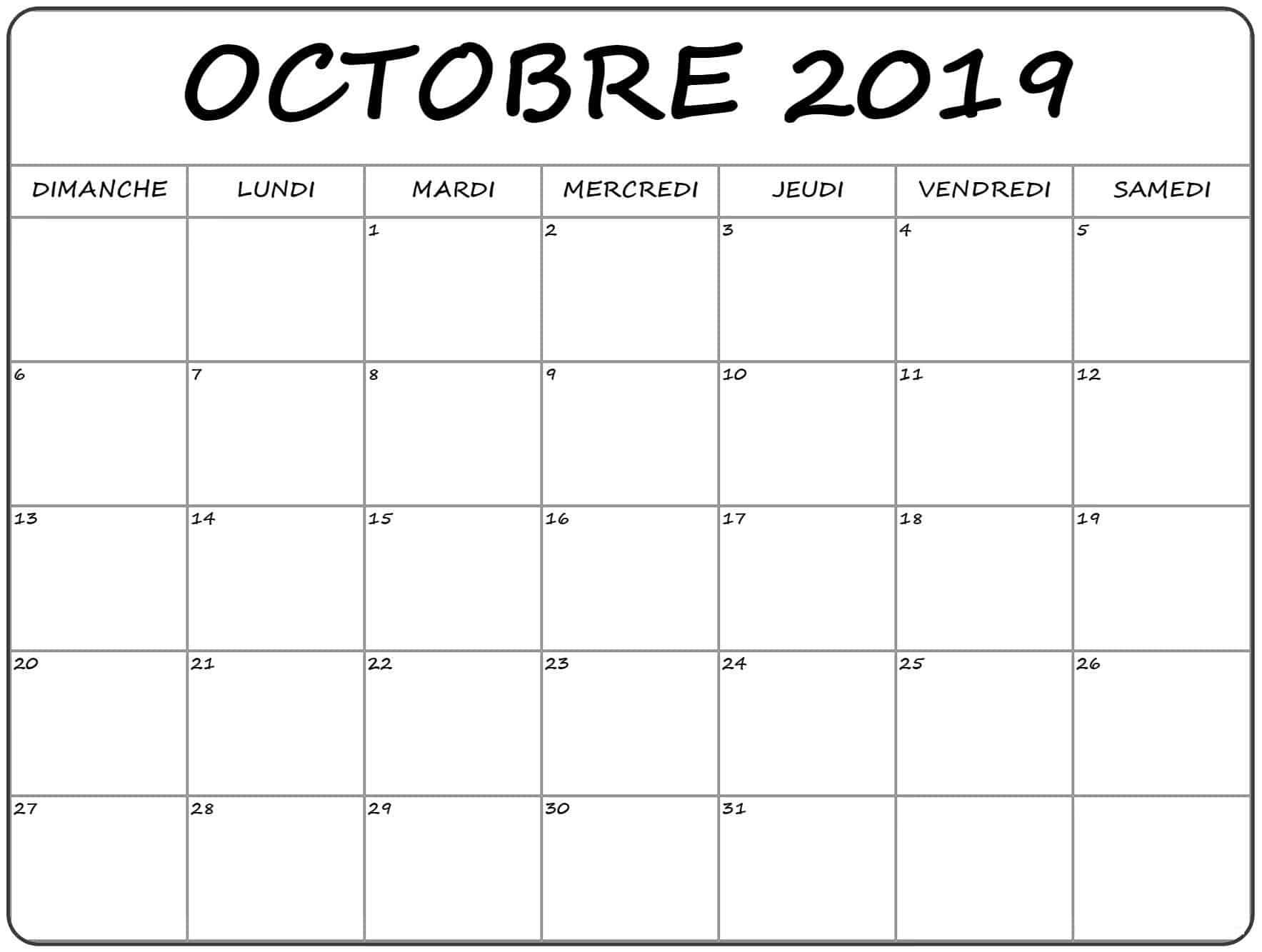 Calendrier Imprimer 2019.Calendrier Octobre 2019 A Imprimer Nosovia Com