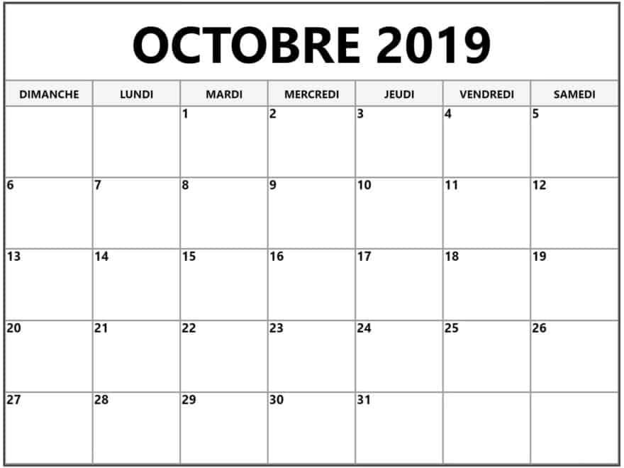Impression Calendrier 2019.Calendrier 2019 Octobre Planificateur Nosovia Com