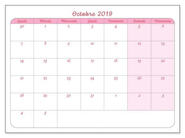 Calendrier Octobre 2019 À Imprimer