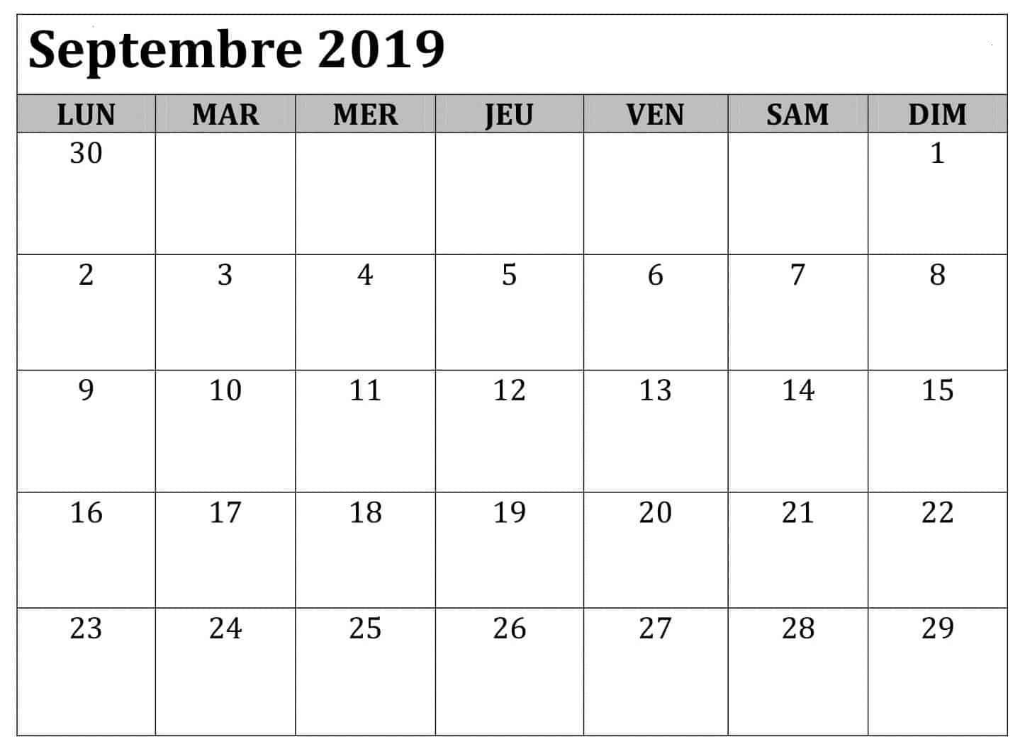 Calendrier Septembre 2019 Mois À Imprimer