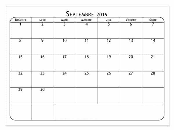 Calendrier Septembre 2019 Gratuit À Imprimer