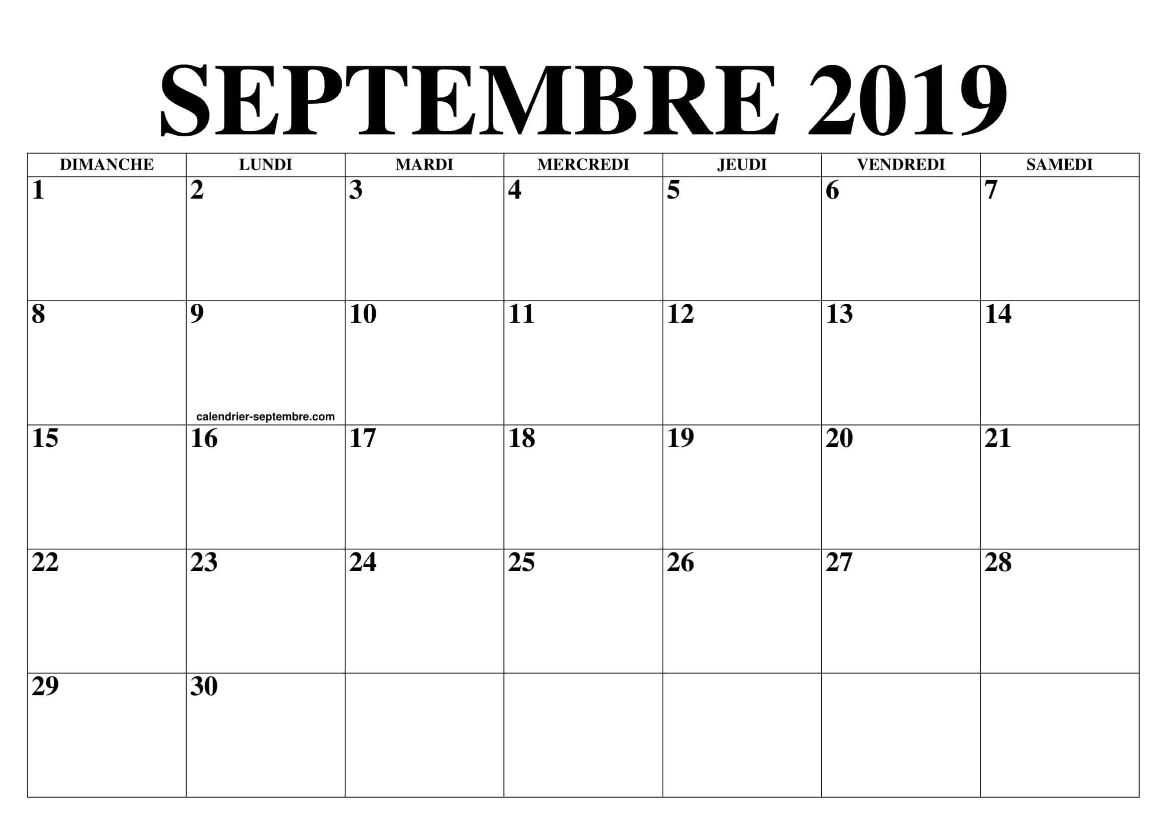 Calendrier Éditable Septembre 2019 À Imprimer