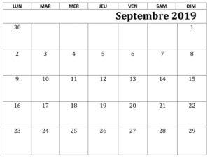 Calendrier Septembre 2019 PDF