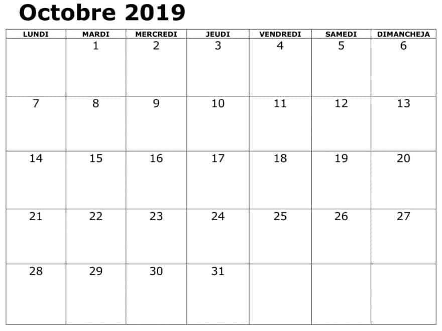 Calendrier Table Octobre 2019 PDF