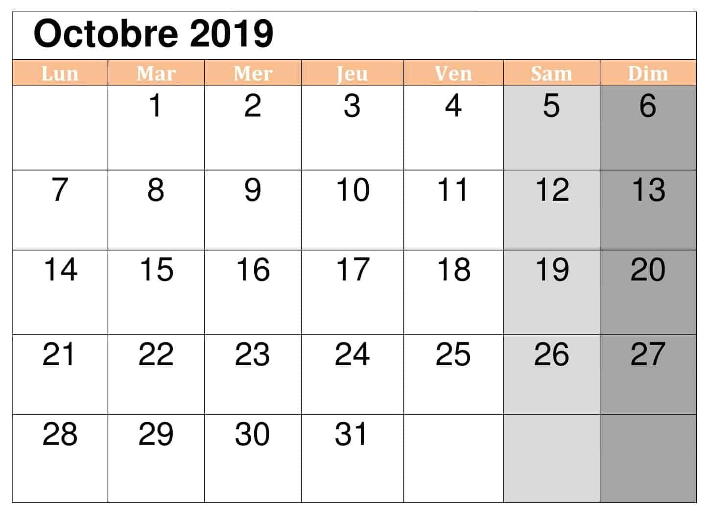 Gratuit Calendrier 2019 Octobre
