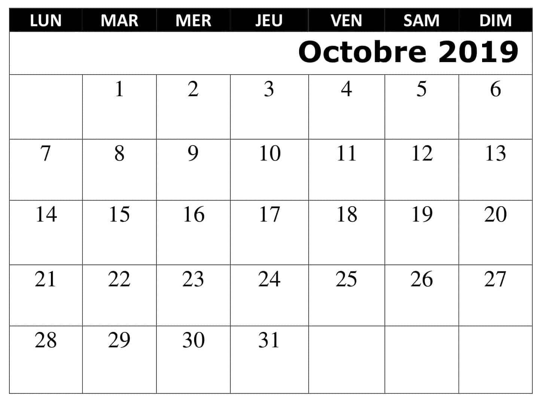 Gratuit Calendrier Octobre 2019 PDF