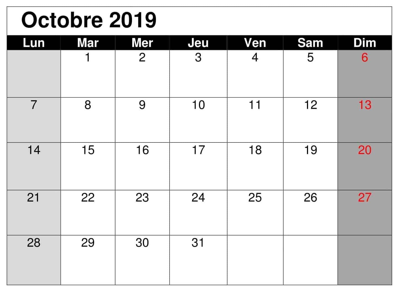 Gratuit Octobre Calendrier 2019