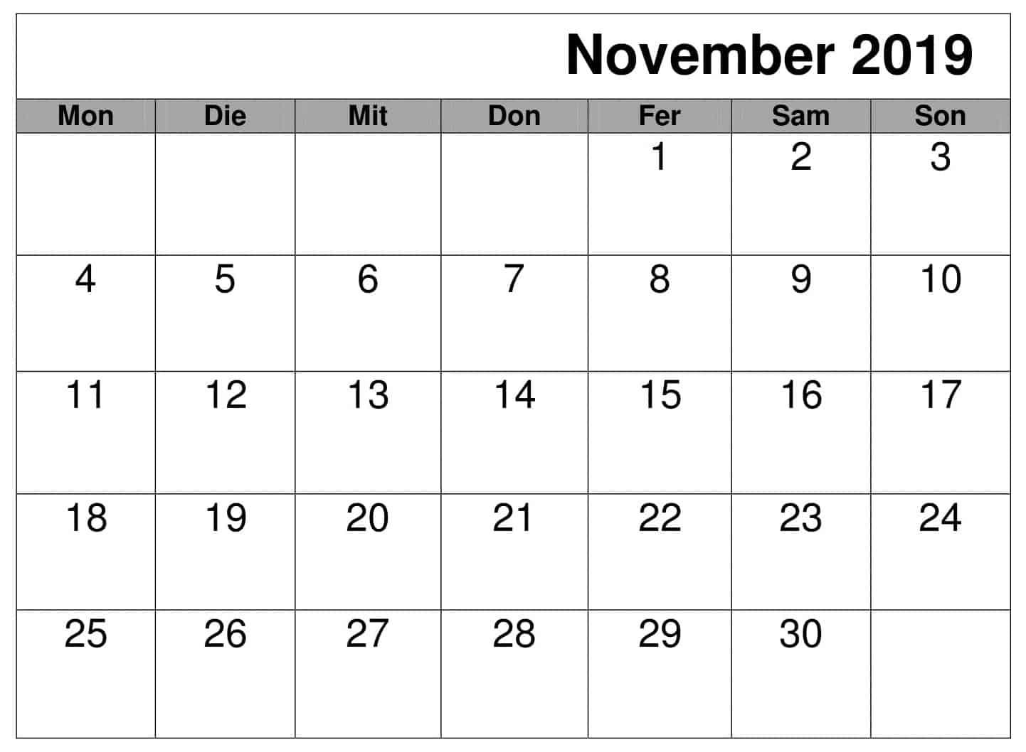 Kalender 2019 November PDF