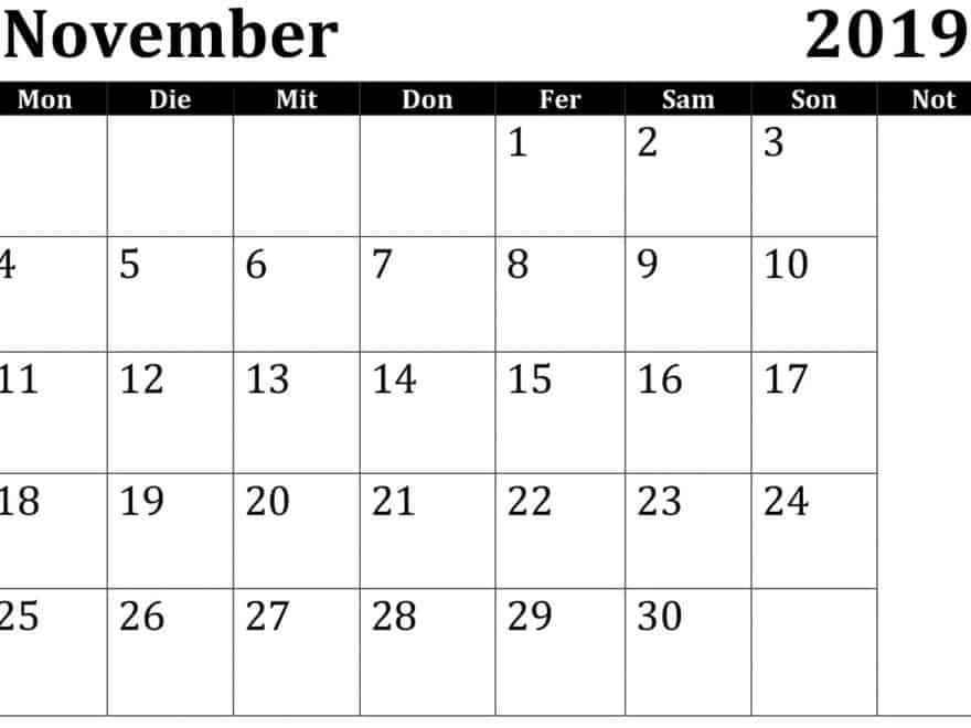 Kalender 2019 November Word