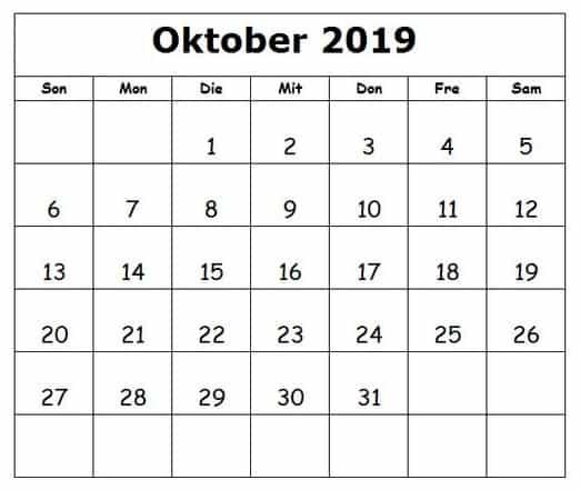 Kalender 2019 Oktober