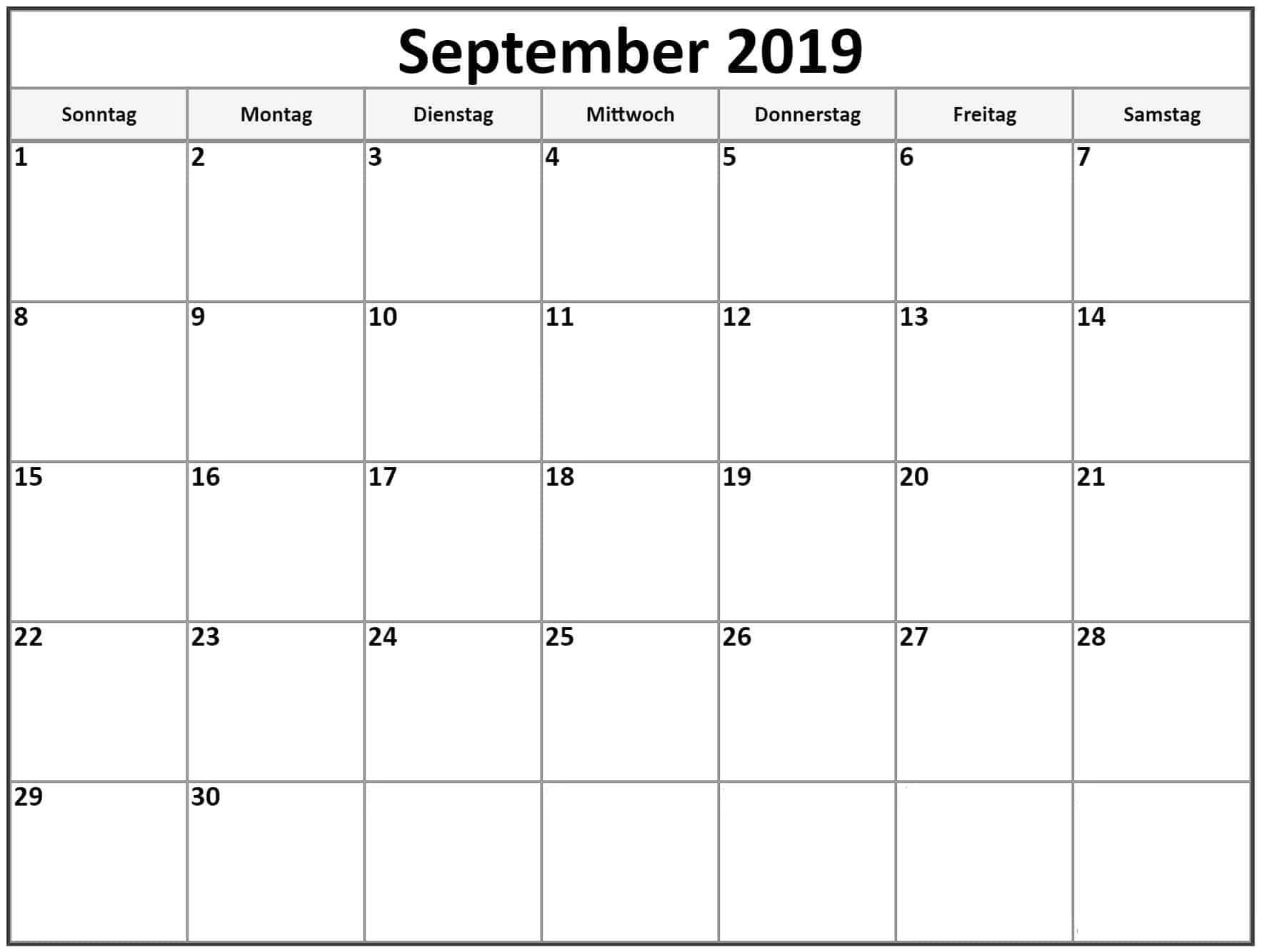 Kalender Tabelle 2019 September