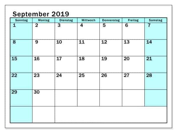 Stile Kalender 2019 September