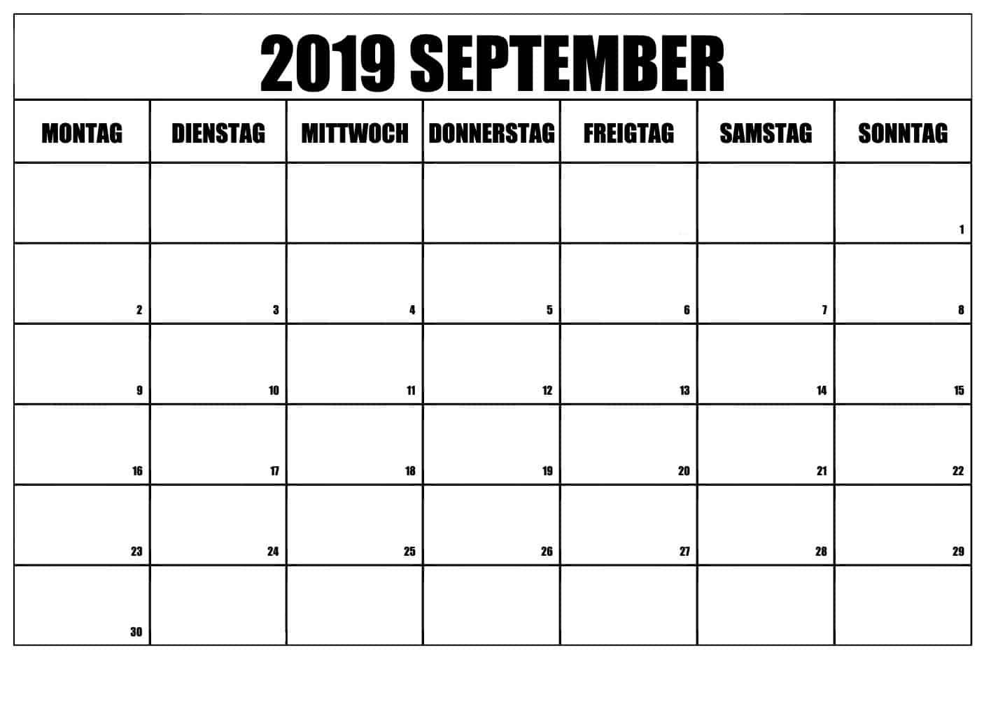 Planer Kalender 2019 September