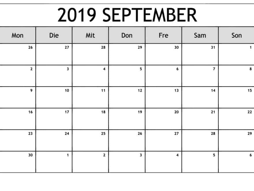 Kalender 2019 Notizen September