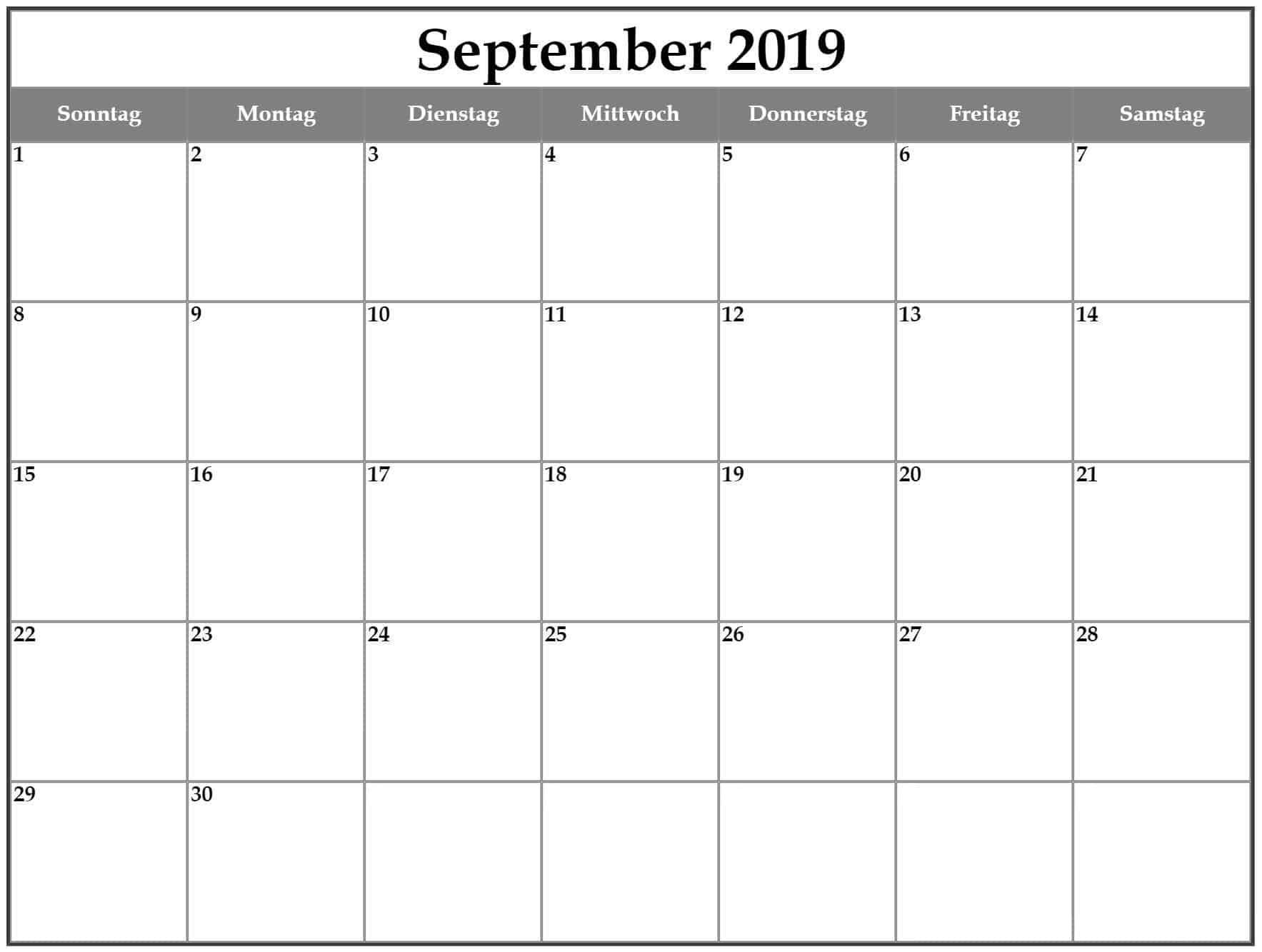 Feiertage Kalender 2019 September