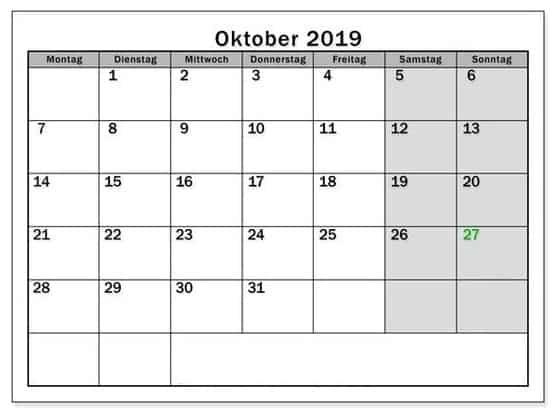 Kalender Oktober 2019 Zum Ausdrucken