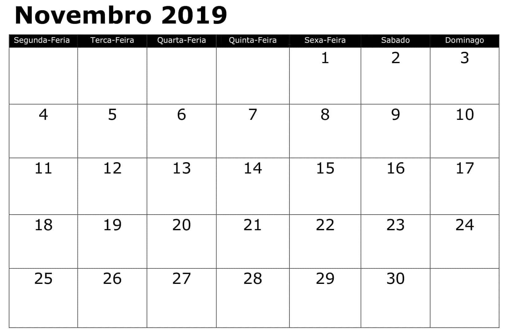 Calendário 2019 Novembro