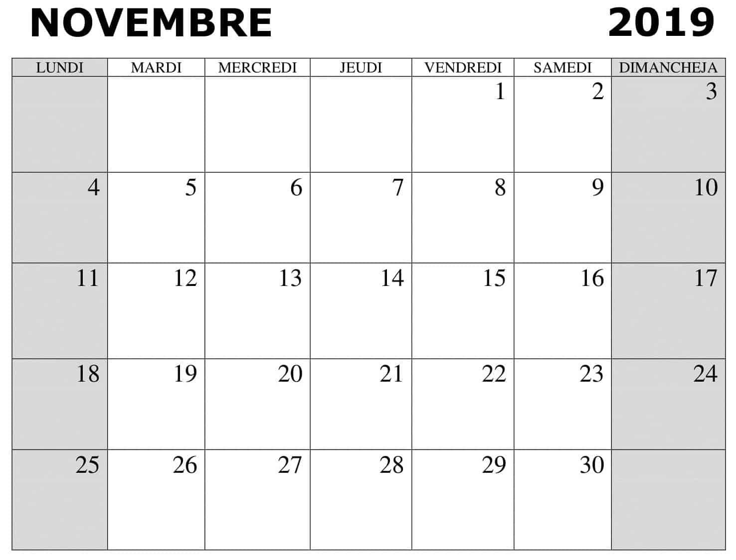 Novembre Calendrier 2019 Word