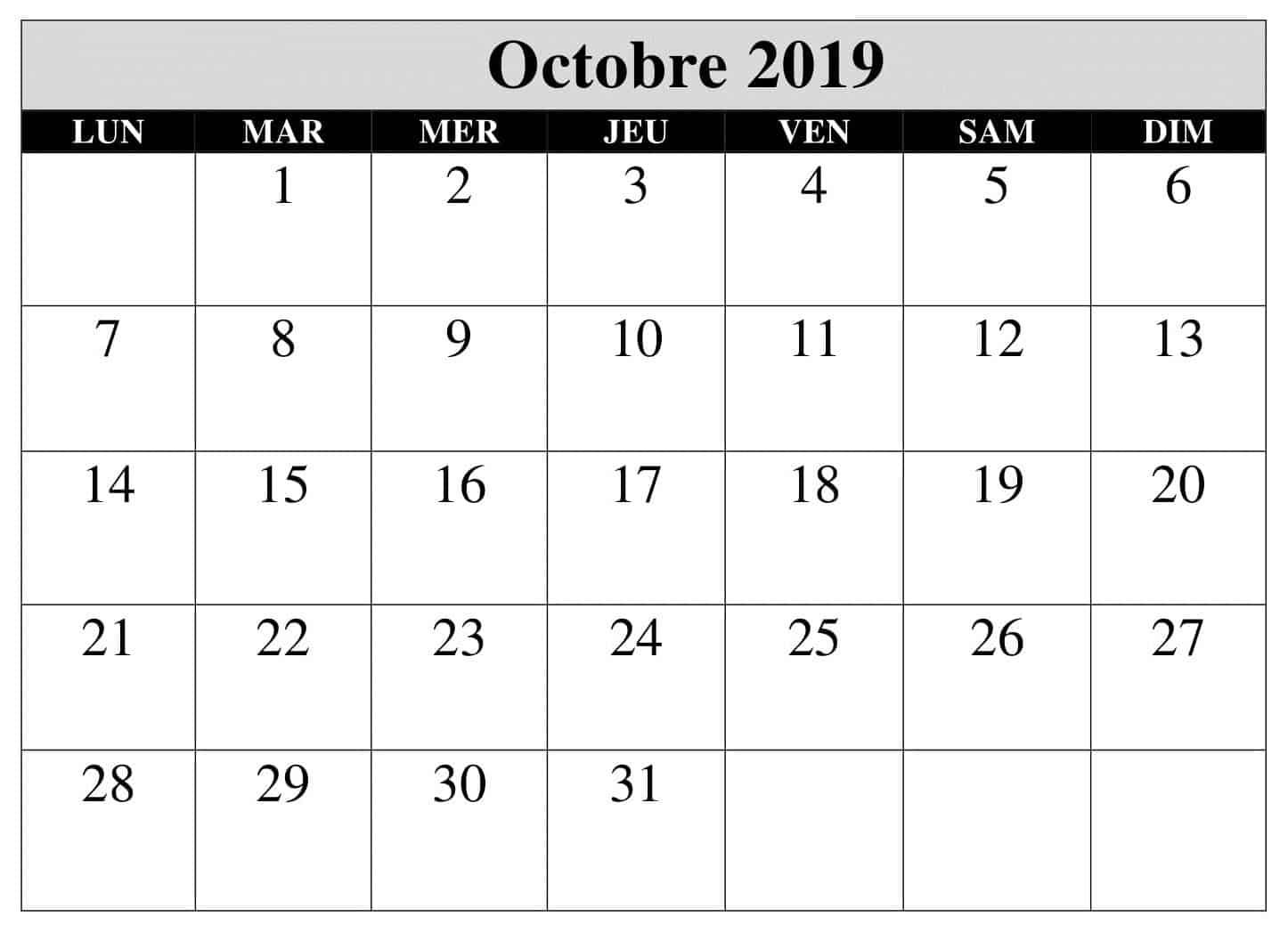 Octobre Calendrier 2019 PDF