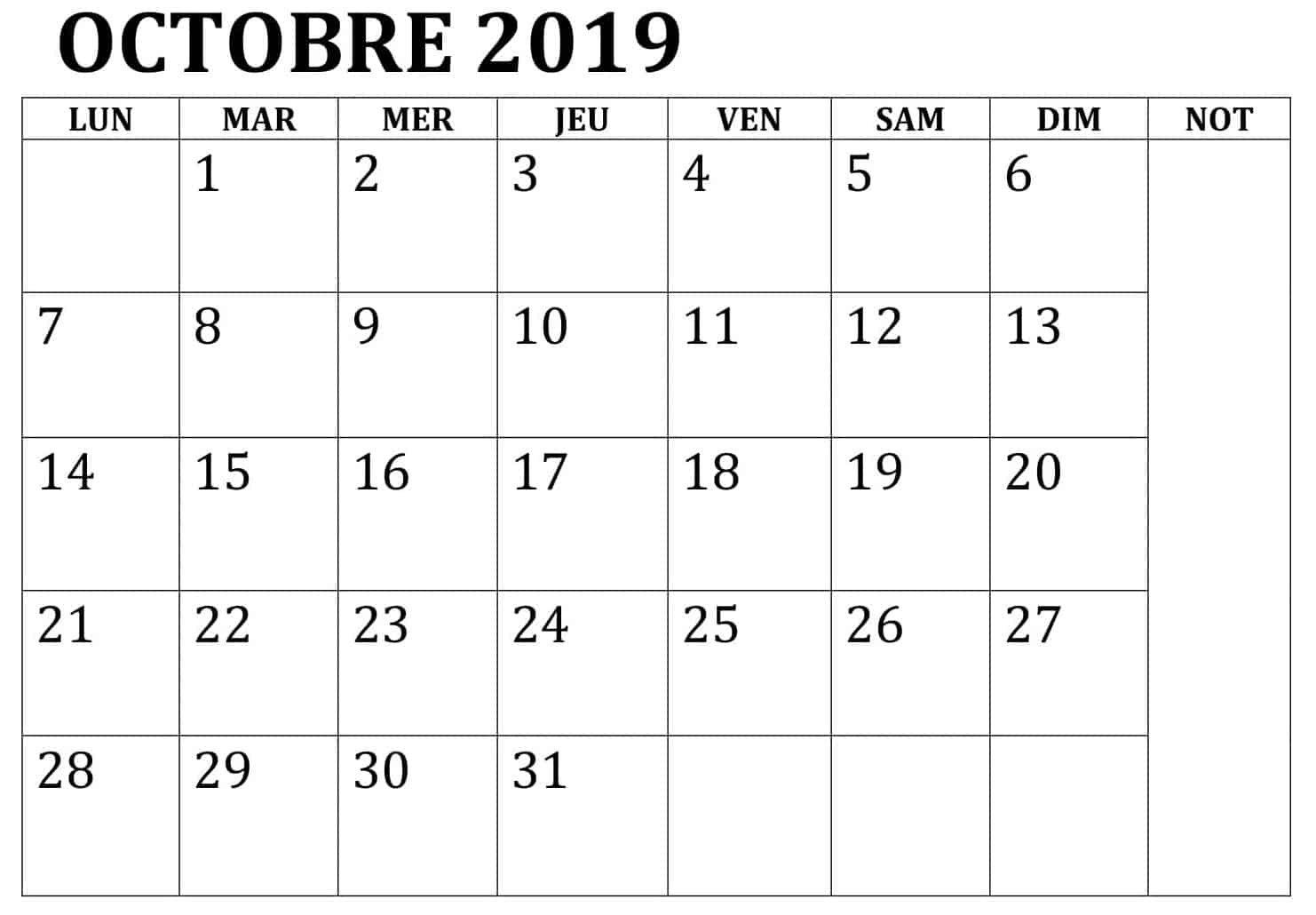Octobre Calendrier 2019 Word
