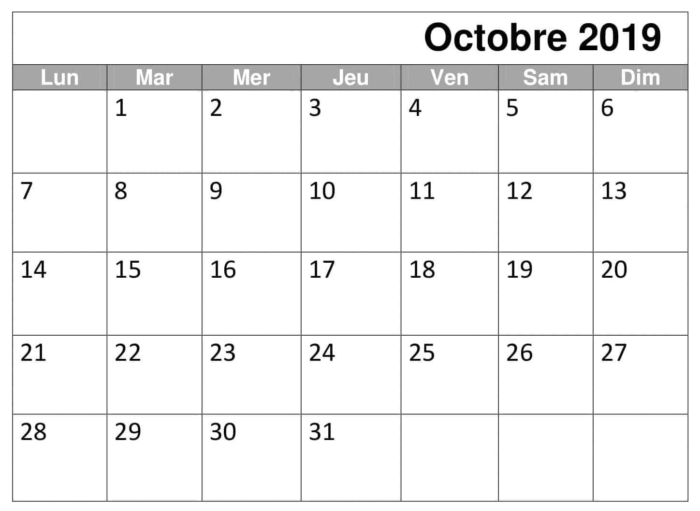 Octobre Mensuel Calendrier 2019