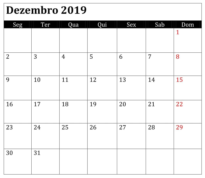 Calendário 2019 Dezembro