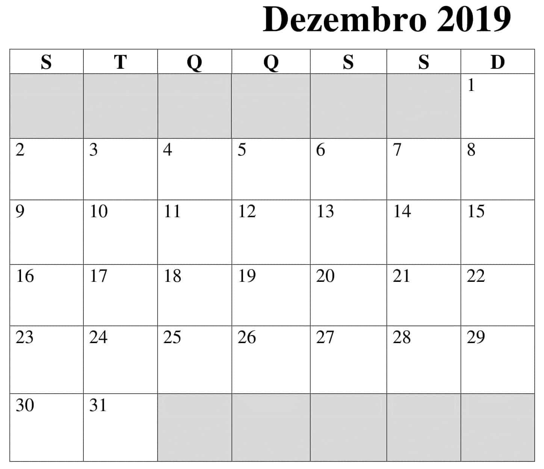 Calendário Dezembro 2019 Para Imprimir