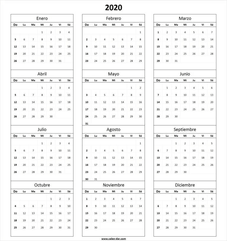 Calendario Blanco Para Imprimir