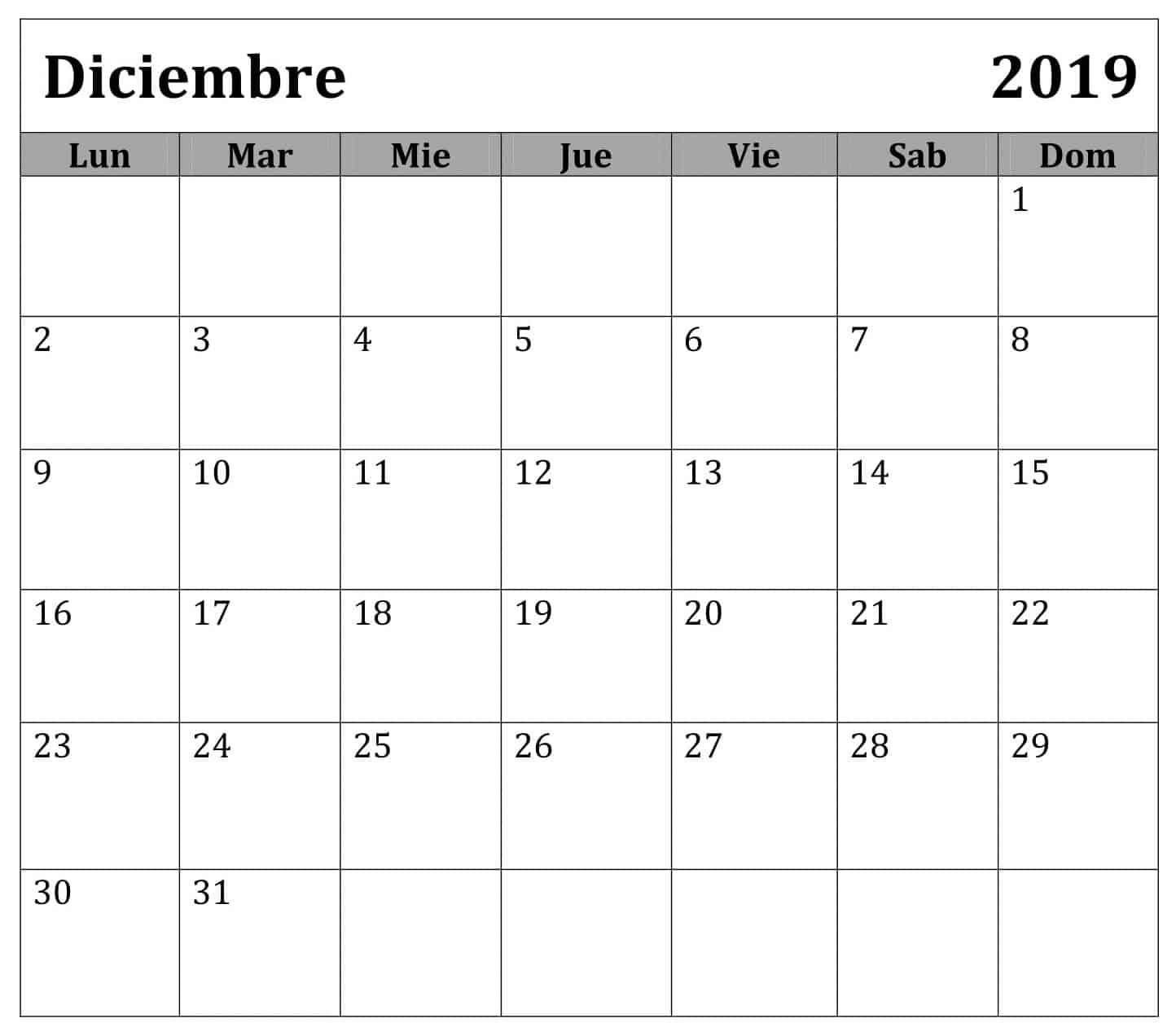 Calendario Diciembre 2019 Chile