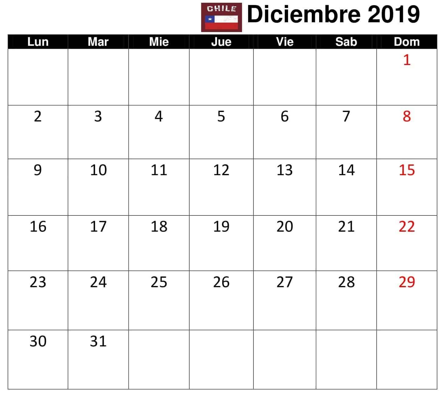 Calendario Diciembre 2019 Con Festivos