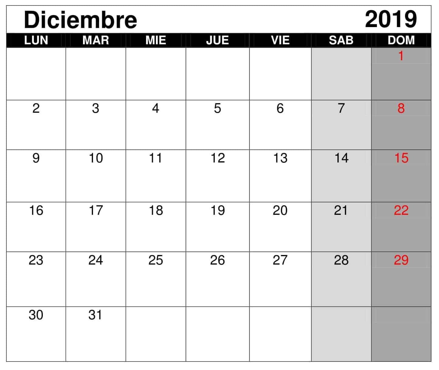 Calendario Diciembre 2019 Para Imprimir