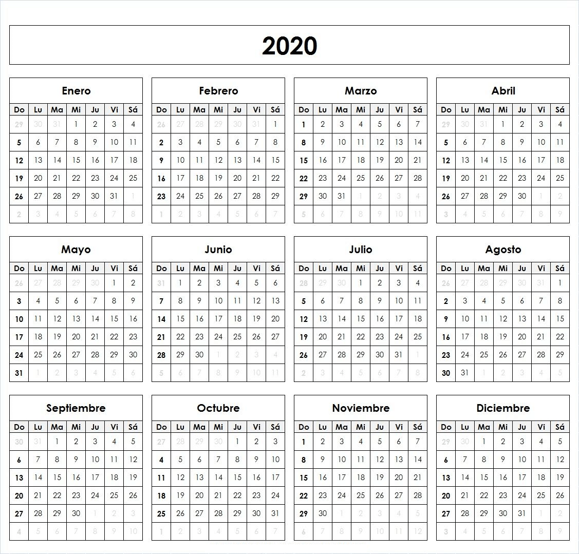 Calendario En Blanco Para Imprimir